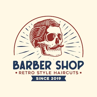Barber logo mit weinleseart