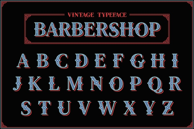 Barber shop alphabet design