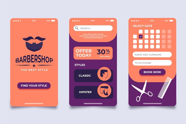 Barber shop buchung app design