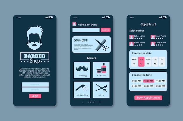 Barber shop buchungs-app-oberfläche