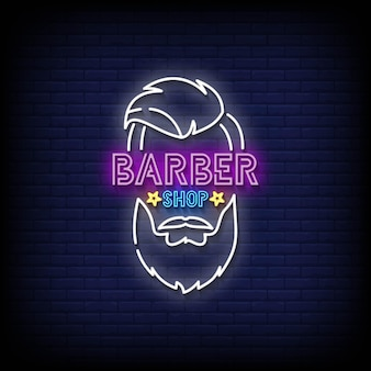 Barber shop neon signs style text vektor