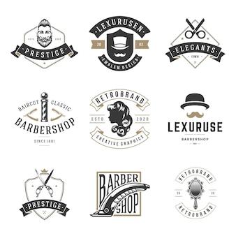 Barbersho retro friseur logos set. vintage bewährte haarschneide- und stylingfirmen. elite rasier- und schnurrbartpflege mit trendigen frisuren.