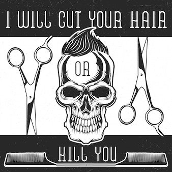 Barbershop-ausrüstung und ein hipster-schädel mit frisur-design