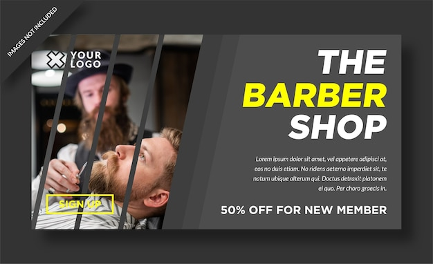 Barbershop banner webdesign social media post