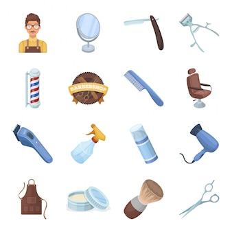 Barbershop cartoon gesetztes symbol. laden und salon. lokalisierter gesetzter ikonenfriseursalon der karikatur.