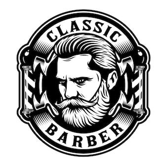 Barbershop-emblem mit bartmann und stange
