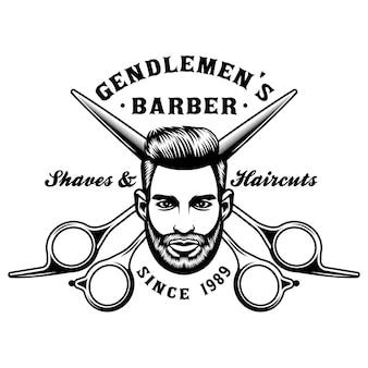 Barbershop-emblem mit manngesicht und schere