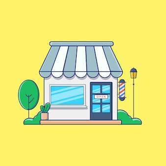 Barbershop front shop illustration vektor mit tree