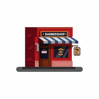 Barbershop gebäude flache art illustration vektor isoliert
