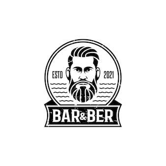 Barbershop gentlemens haar männer logo vintage retro-stil premium