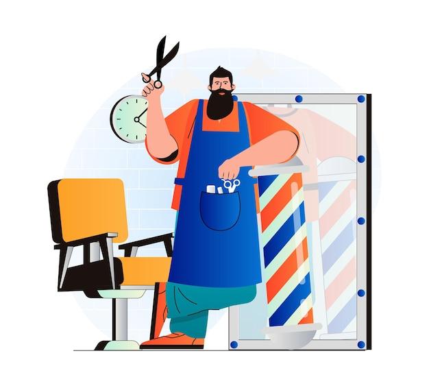 Barbershop-konzept im modernen flachen design professioneller friseur oder friseurschere