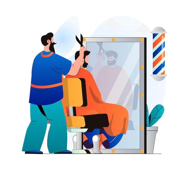 Barbershop-konzept in modernem, flachem design friseur, der kundenhaare im männlichen salon schneidet