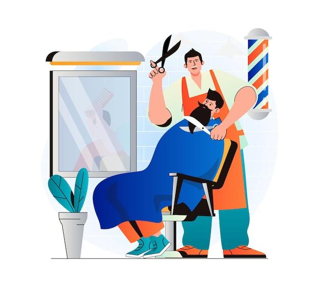 Barbershop-konzept in modernem, flachem design friseur, der kundenhaare schneidet und rasiert