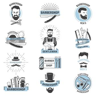 Barbershop-logo-vektorfriseur schneidet männlichen haarschnitt und stachelschnurrbart des bärtigen mannes mit rasiermesser im hipster-salon auf logo-illustrationssatz lokalisiert auf weißem raum