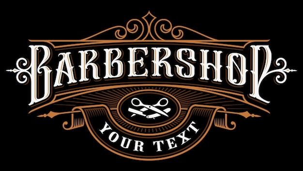 Barbershop-logo. weinlesebeschriftungsillustration auf dunklem hintergrund. alle objekte, text befinden sich in den separaten gruppen.