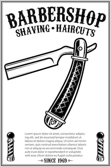 Barbershop-plakatschablone mit rasiermesser im retro-stil. gestaltungselement für poster, karte, banner, emblem, zeichen. vektor-illustration