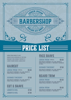 Barbershop preisliste blaues plakat