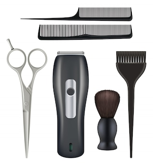 Barbershop realistisch. friseur werkzeuge friseur schönheit mode salon werkzeuge kamm schere klinge illustrationen