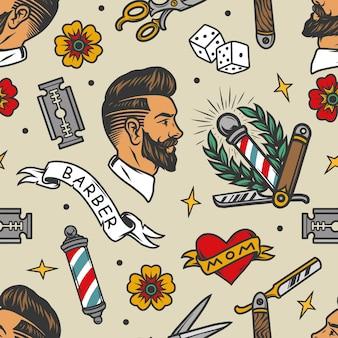 Barbershop tattoos buntes nahtloses muster im vintage-stil mit stilvollem mannkopf