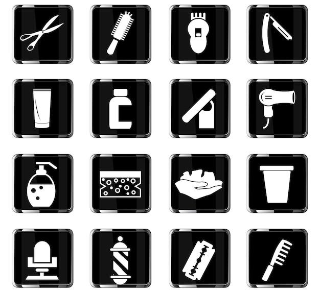 Barbershop-vektorsymbole für das design der benutzeroberfläche