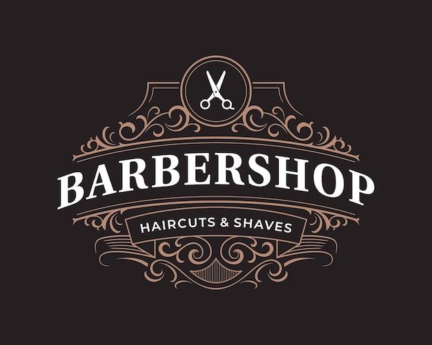 Barbershop verziertes viktorianisches typografisches logo der weinlese mit dekorativem blumenornament Premium Vektoren