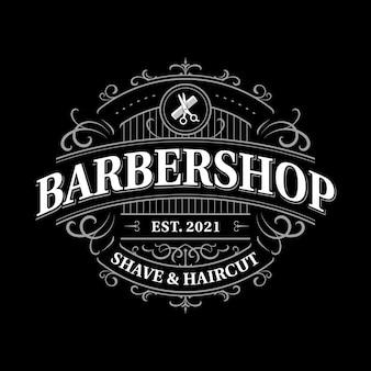 Barbershop verziertes vintage viktorianisches typografie-logo-design mit dekorativem ornament-schnörkelrahmen