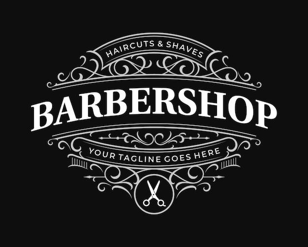 Barbershop verziertes vintage viktorianisches typografie-logo mit dekorativem zierrahmen