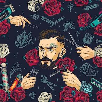 Barbershop vintage buntes nahtloses muster mit stilvollem bärtigen und schnurrbärtigen barbier