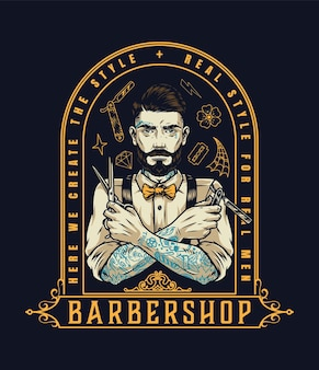 Barbershop-vintage-label mit stilvollem tätowiertem bärtigen friseur mit schere und rasiermesser isolierte vektorillustration