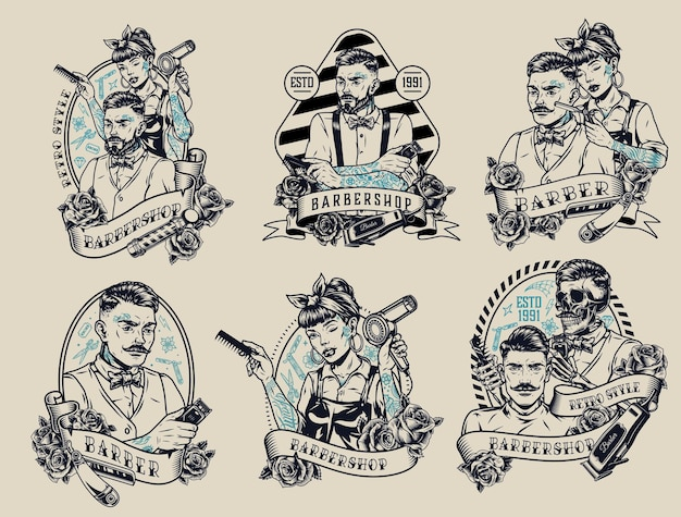 Barbershop vintage monochrome etiketten mit aufschriften rosen stilvolle männliche weibliche und skelettierte friseure kunden rasiermesser kamm haarschneider und trockner
