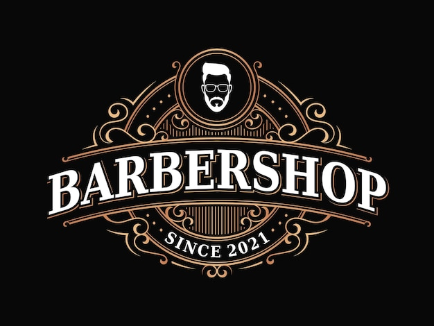 Barbershop vintage royal luxus viktorianisches ornament logo