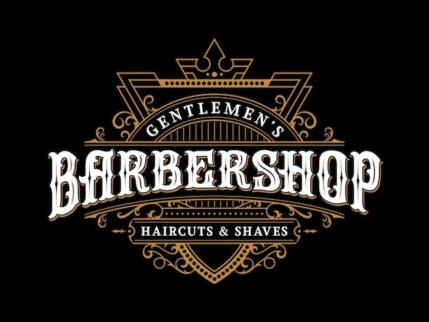 Barbershop vintage schriftzug logo mit dekorativem zierrahmen