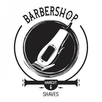 Barbershop vintage schwarz-weiß-emblem