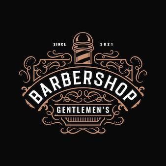 Barbershop vintage western-typografie-logo-design mit dekorativem ornament-schnörkelrahmen