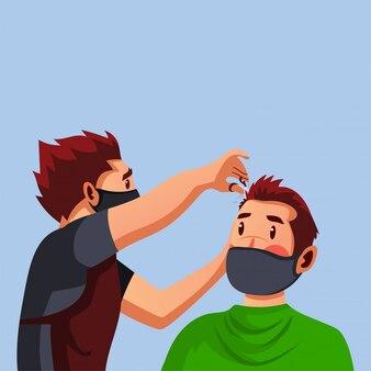 Barbershop wear mask ist sein kundenhaar geschnitten