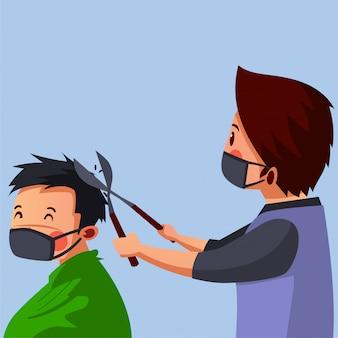 Barbershop wear mask wird seinem kunden während einer pandemie die haare geschnitten