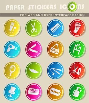 Barbershop-websymbole für das design der benutzeroberfläche