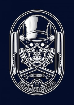 Barberskull illustration für t-shirt