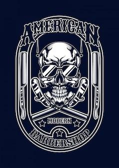 Barberskull illustration für t-shirt