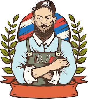 Barbier-mann-vektor-illustration