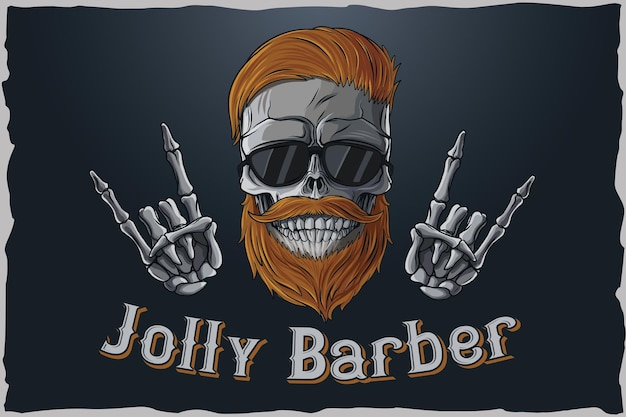 Barbierschädelillustration zum drucken