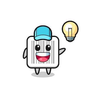 Barcode-charakter-cartoon, der die idee bekommt, süßes design