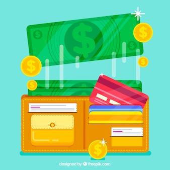 Bargeld, kreditkarten und geldbörse