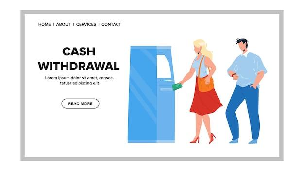 Bargeldabhebung vom geldautomaten mit kreditkarte vektor. junges mädchen bargeldabhebung von der elektronischen bankmaschine des asynchronen überweisungsmodus. charaktere bekommen geld web-flache cartoon-illustration