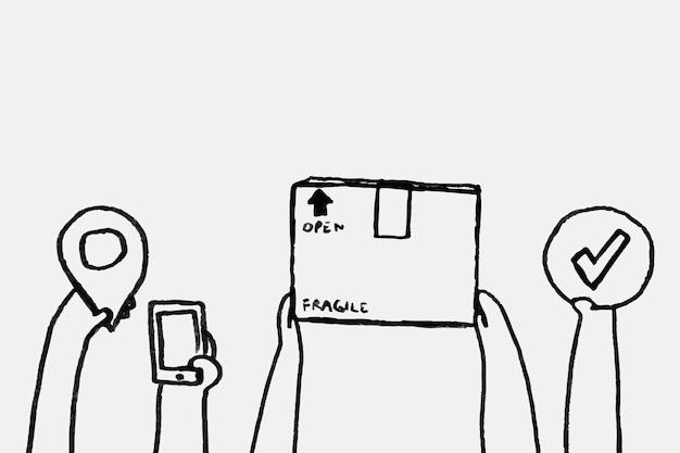 Bargeldlose paketzustellung doodle vektor kontaktloses konzept