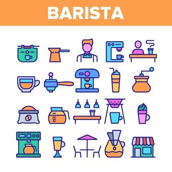 Barista-ausrüstungs-zeichen-ikonen eingestellt