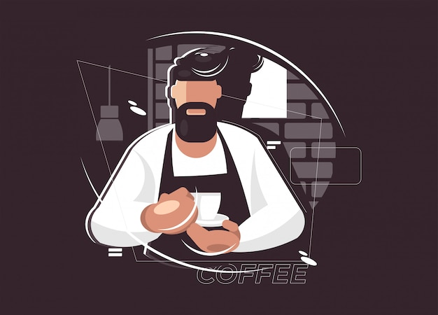 Barista illustration. kaffeepause-konzept