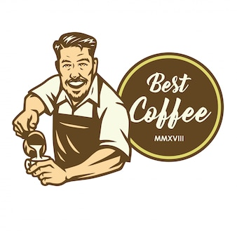 Barista kaffee latte art cafe logo design template