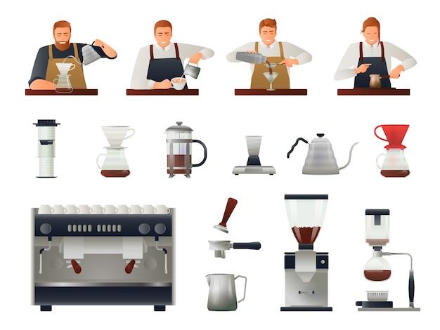 Barista und kaffeeset