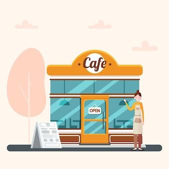 Barista und wiedereröffnetes café